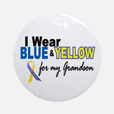 I Wear Blue & Yellow....2 (Grandson) Ornament (Rou