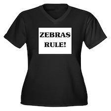 Zebras Rule Women's Plus Size V-Neck Dark T-Shirt