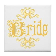 Peach Fancy Bride Tile Coaster