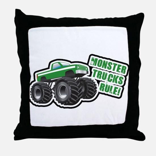Green Monster Truck Throw Pillow