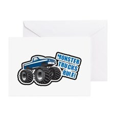 Blue Monster Truck Greeting Cards (Pk of 10)