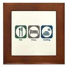 Eat Sleep Curling Framed Tile