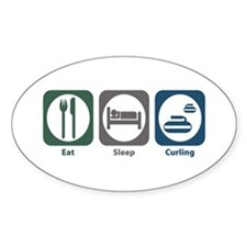 Eat Sleep Curling Oval Decal