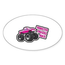 Pink Monster Truck Oval Decal