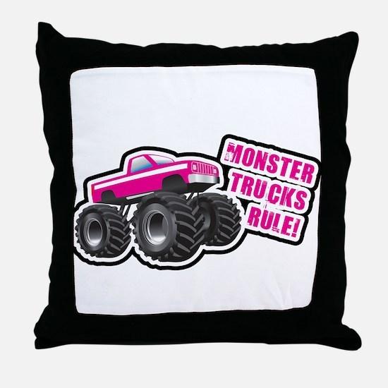 Pink Monster Truck Throw Pillow