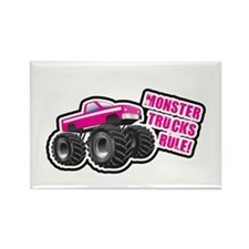 Pink Monster Truck Rectangle Magnet