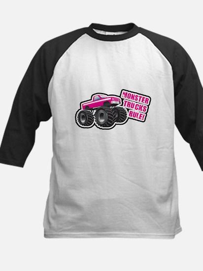 Pink Monster Truck Kids Baseball Jersey
