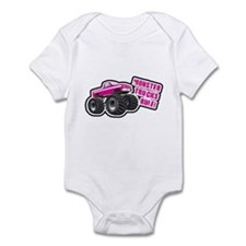 Pink Monster Truck Infant Bodysuit