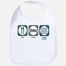 Eat Sleep Cross-stitch Bib