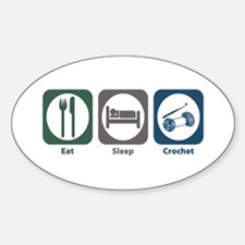 Eat Sleep Crochet Oval Decal