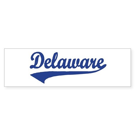 Delaware - Blue Retro Bumper Sticker