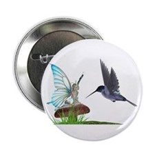 "Hummingbird and Fairy 2.25"" Button (10 pack)"
