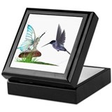 Hummingbird and fairy Square Keepsake Boxes