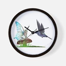 Hummingbird and Fairy Wall Clock