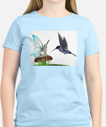 Hummingbird and Fairy Women's Pink T-Shirt