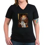 Queen / English Setter Women's V-Neck Dark T-Shirt
