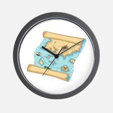 Pirate Treasure Map Wall Clock