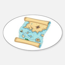 Pirate Treasure Map Oval Decal