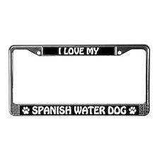I Love My Spanish Water Dog License Plate Frame