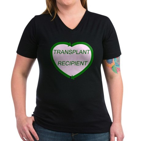 Transplant Recipient Women's V-Neck Dark T-Shirt