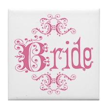 Pink Fancy Bride Tile Coaster