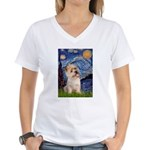 Starry Night / Cairn Terrier Women's V-Neck T-Shir