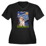Starry Night / Cairn Terrier Women's Plus Size V-N