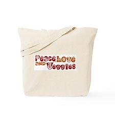 Peace, Love and Veggies Tote Bag