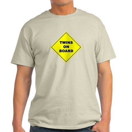 Twins On Board traffic sign Maternity Light T-Shir