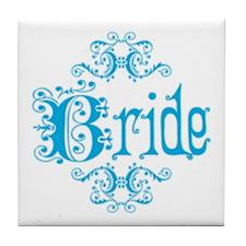 Blue Fancy Bride Tile Coaster