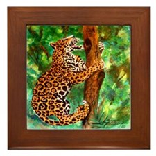 Climbing jaguar Framed Tile