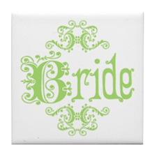 Green Fancy Bride Tile Coaster