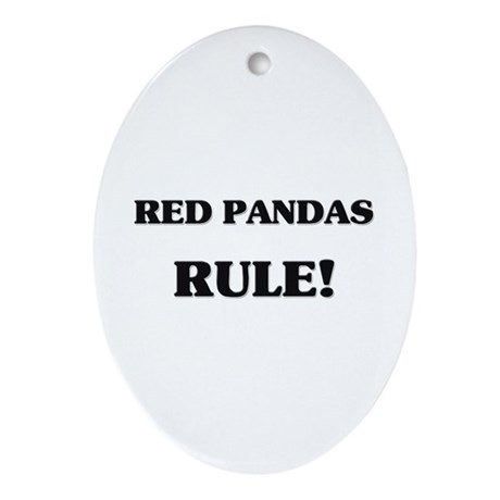 Red Pandas Rule Oval Ornament