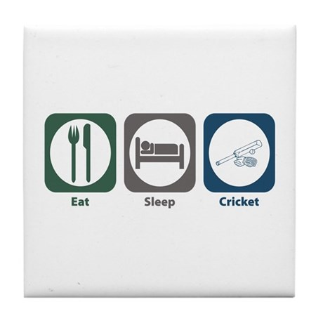 Eat Sleep Cricket Tile Coaster
