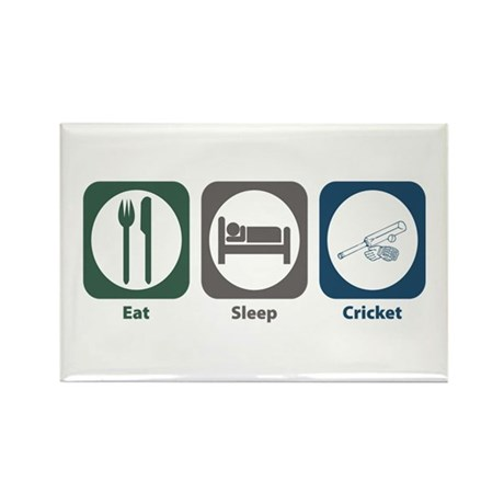 Eat Sleep Cricket Rectangle Magnet