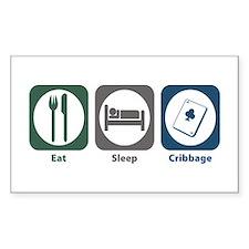 Eat Sleep Cribbage Rectangle Decal