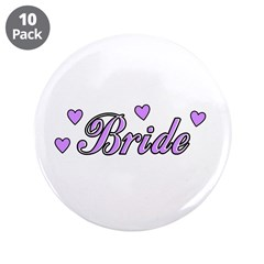 "Bride Hearts 3.5"" Button (10 pack)"