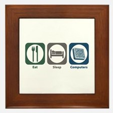 Eat Sleep Computers Framed Tile
