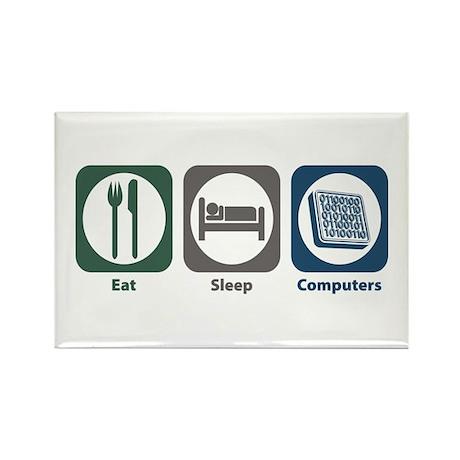Eat Sleep Computers Rectangle Magnet