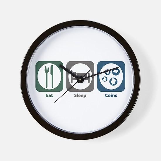 Eat Sleep Coins Wall Clock
