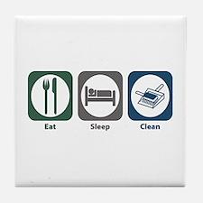 Eat Sleep Clean Tile Coaster