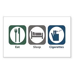 Eat Sleep Cigarettes Rectangle Sticker 10 pk)