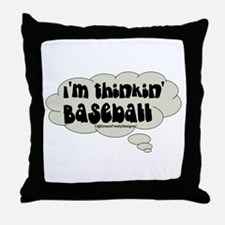 thinkin' baseball Throw Pillow