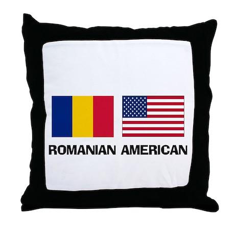 Romanian American Throw Pillow