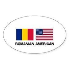 Romanian American Oval Decal