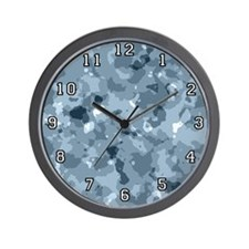 Blue Camouflage Wall Clock