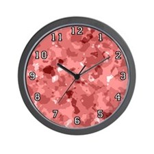 Red Camouflage Wall Clock