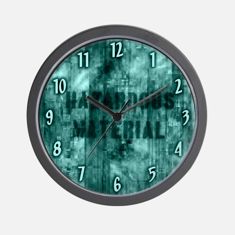 Teal Hazardous Material Wall Clock
