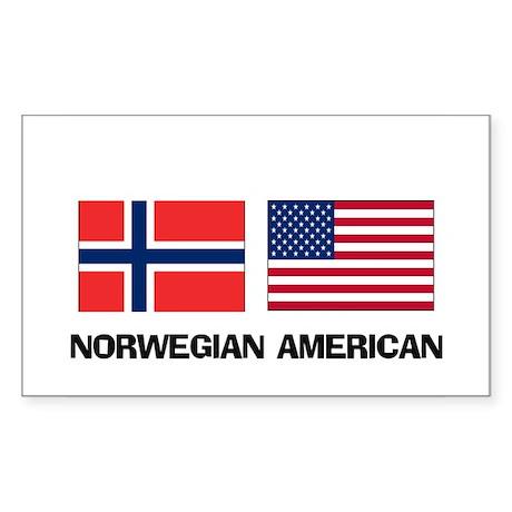 Norwegian American Rectangle Sticker