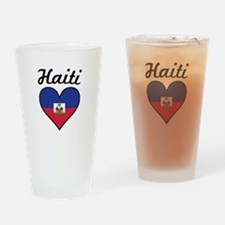 Haiti Flag Heart Drinking Glass